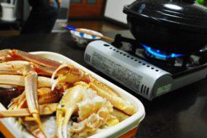 自宅でカニ料理